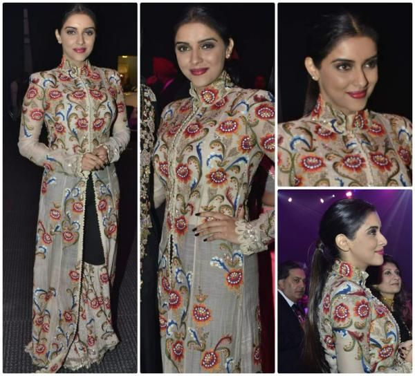 Beige Printed / Embroidered Jacket Style Evening Dress by Anamika Khanna.