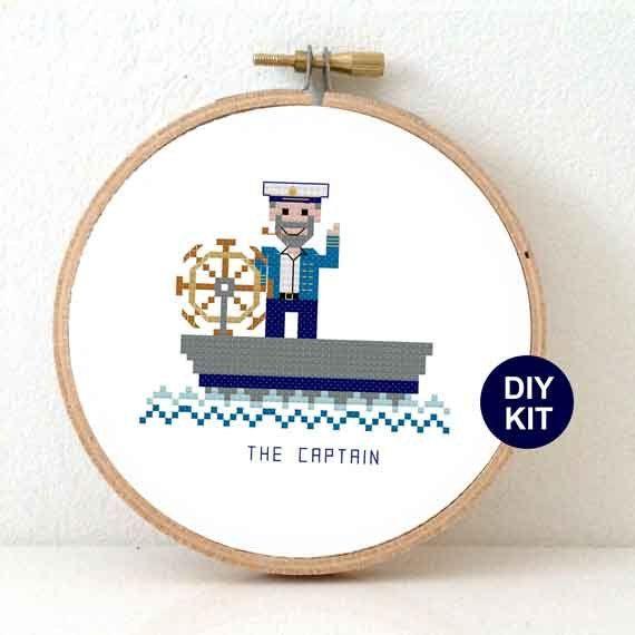 Nautical Cross Stitch Kit with boat captain. Nautical nursery decor. Modern embroidery kit including hoop by Studio Koekoek. #studiokoekoek #stitchajob