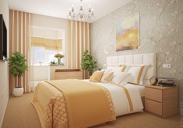 Нежное оформление спальни: теплые оттенки, мягкие фактуры.