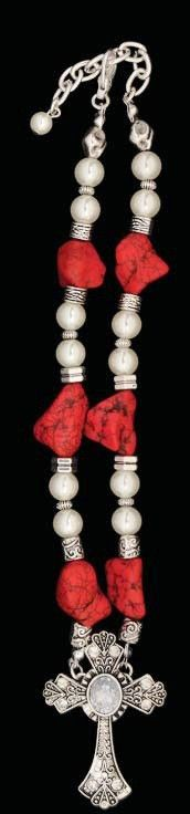 (3DB-BJ1001ASCO) Western Pearl & Coral Beaded Cross Necklace