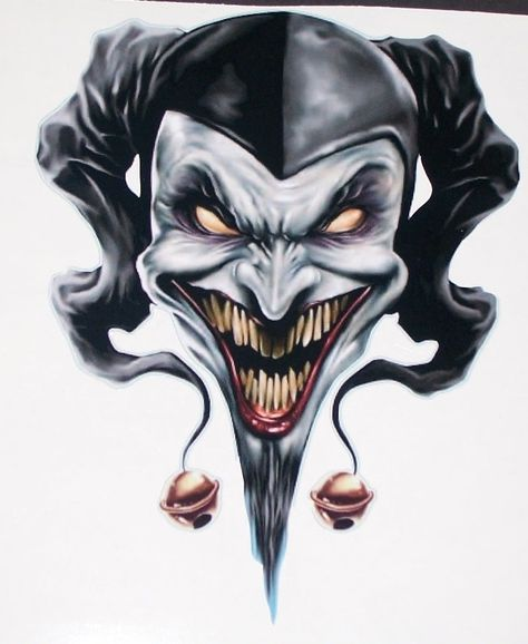 Evil Clown Jester Skull 6 X 8 5 Full Color Tailgate Graphic
