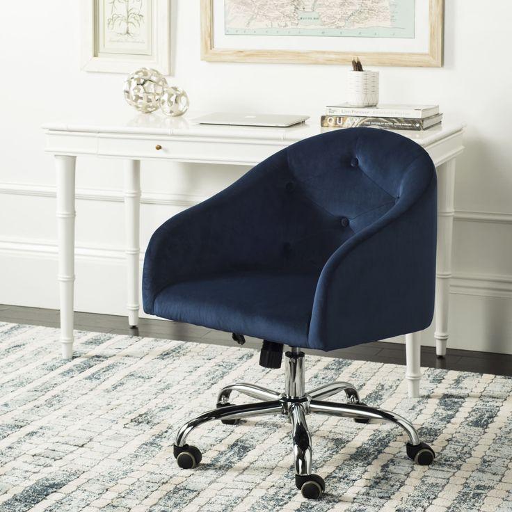 Safavieh Amy Tufted Velvet Chrome Leg Swivel Office Chair