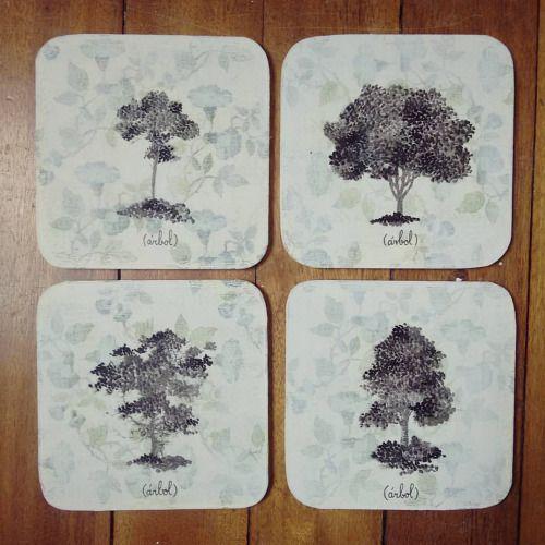 """"""" Mi amigo el árbol """" set de 4 posa vasos pieza única #Himallineishon #coasters #tree #illustration #art #homedecor #handpainted"""