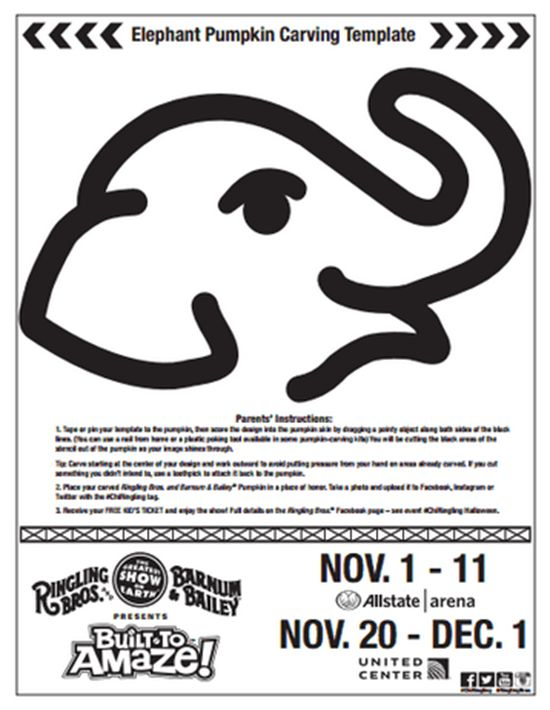 Pumpkin carving stencils and coloring sheet ringling for How to carve an elephant on a pumpkin