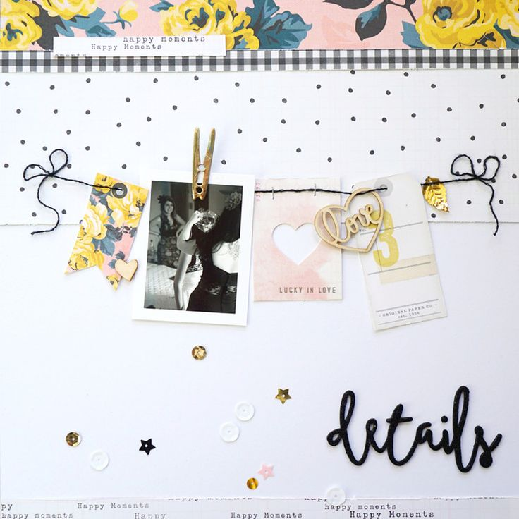 12 x 12 SCRAPBOOK LAYOUT ~ Love how the photo and tags are added to the string, so cute.