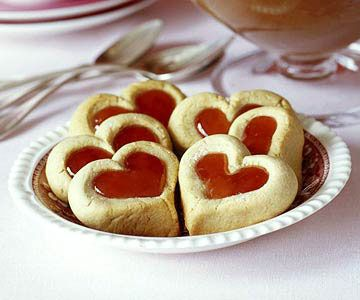 Double Thumbprint Cookies - Heart Shaped Cookies filled with Jam