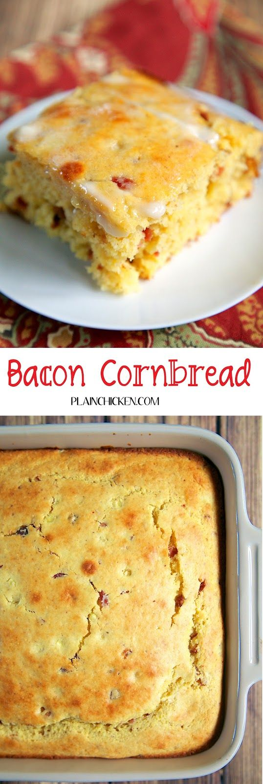 Bacon Cornbread Recipe - homemade sweet cornbread packed with fresh corn and bacon - recipe from The Biltmore in Asheville, NC. SO delicious! How could it not be with yummy bacon?!?! Ready in 30 minutes.