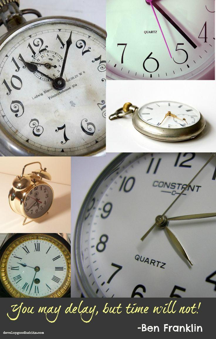 Procrastination Benjamin Franklin Quote #time #clocks #procrastinate