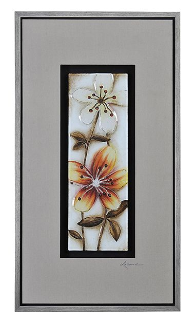 Bright flowers are molded in glass and painted on the reverse in stunning orange, red, and warm ivories. This glass tile is mounted in a linen-covered wood background in contrasting black and gray, and finished with a silver frame.
