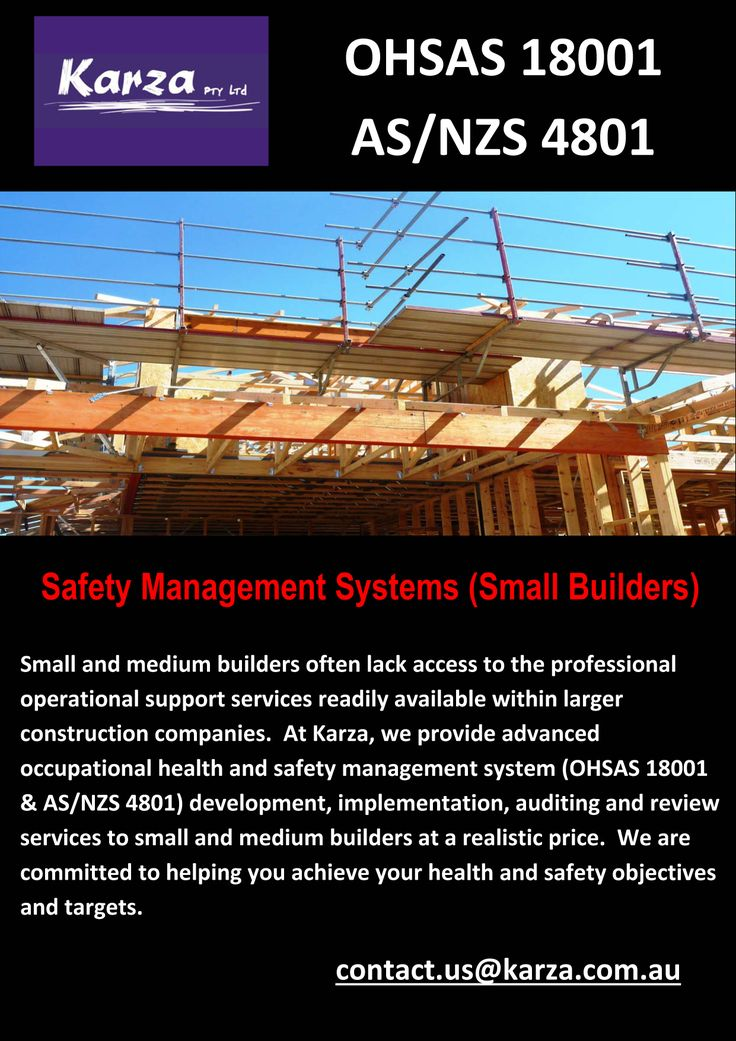 Karza provides advanced occupational health and safety management system (OHSAS 18001 & AS/NZS 4801) development, implementation, auditing and review services to small and medium builders at a realistic price.
