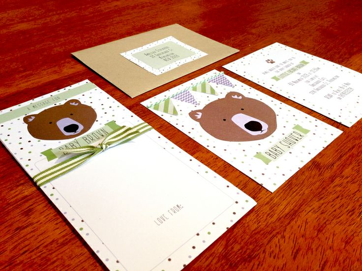 Baby Shower Invite #bear #brown #event #styling #polka #dots #bunting #ribbon #green #purple