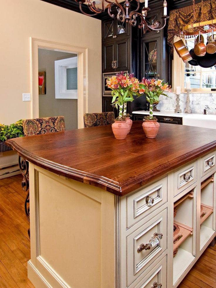French Country Kitchen With Island Storage