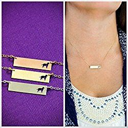 Labrador Retriever Dog BAR Necklace - Lab - IBD - Layering Charm - Personalize with Name or Date - Choose Chain Length - Sterling Silver 14K Rose Gold Filled - Ships in 2 Business Days