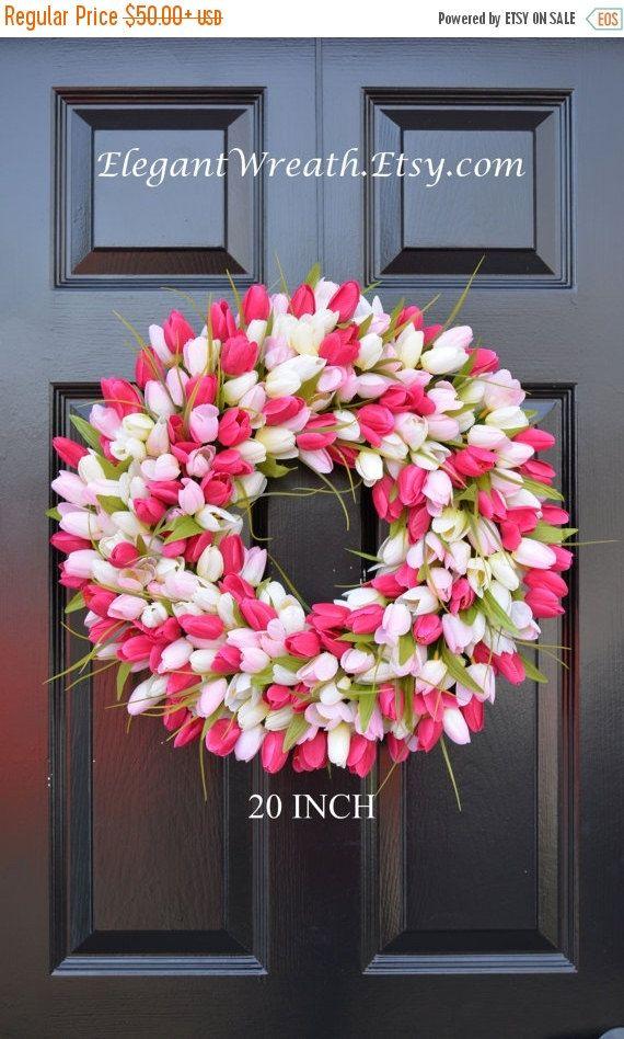 SPRING WREATH SALE Spring Wreath Tulip Spring by ElegantWreath