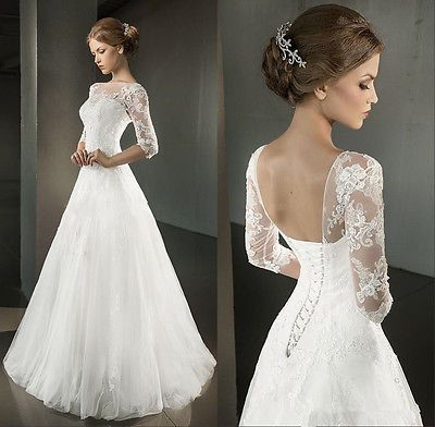 2016 Spring A Line Wedding Dresses Half Sleeve Open Back Corset Bridal Gowns in Clothing, Shoes, Accessories, Wedding, Wedding Dresses | eBay