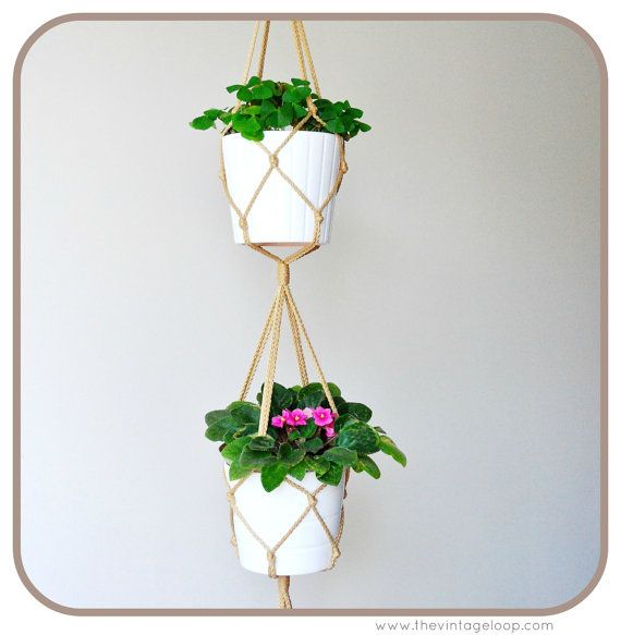 Double Macrame plant hanger 48 inches long by TheVintageLoop