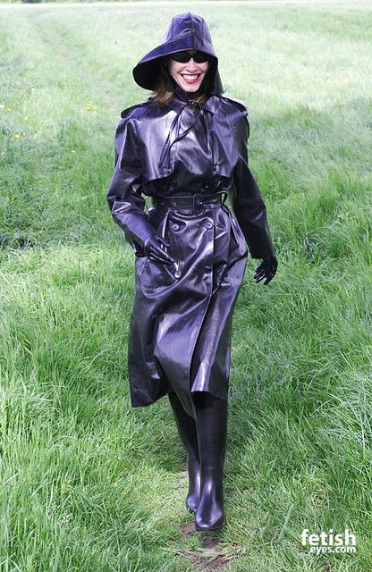 Black Rubber Raincoat, Hat, Gloves, and Boots