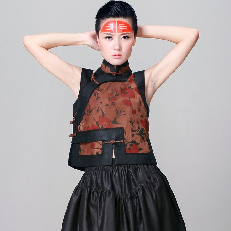 High-grade Tang costume modified ladies vintage silk short Chinese dynasty vest…
