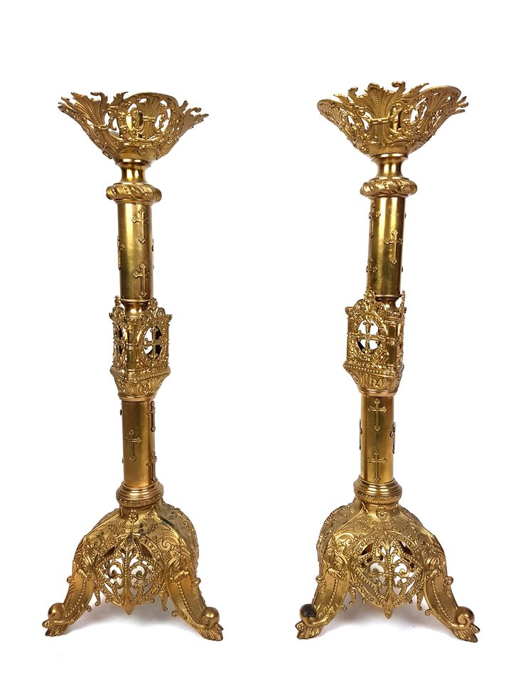 "Pair French 26"" 66cm Altar Candlestick Ornate Gilt Solid Brass Candle Holder Antique Liturgical Religious Early 20th Vintage"
