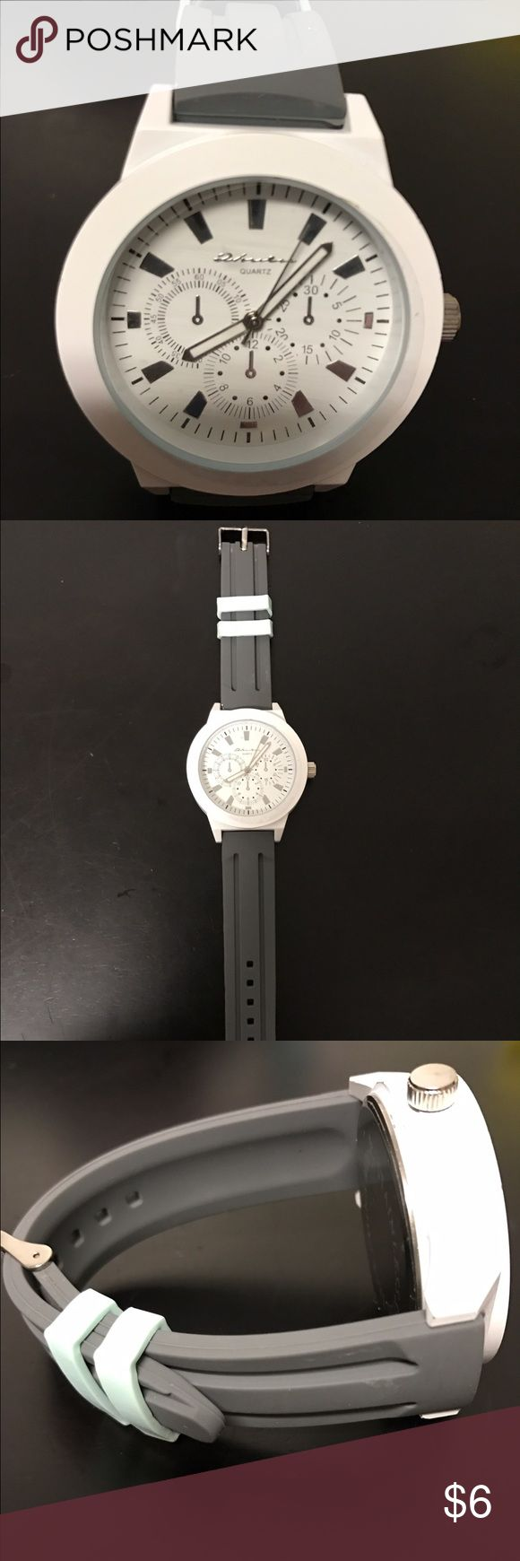 Fashion watch. Grey/while & aqua blue Supper cute large face watch. White face w/ grey & aqua blue band. Check out my closet and save! Accessories Watches