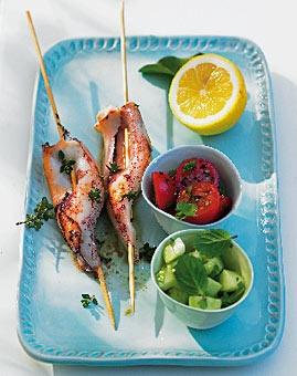 Gefüllte Tintenfische (mit Schafskäse, Gurke, Tomate, Mandeln,...)