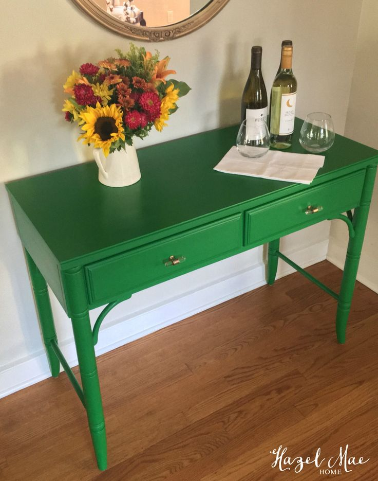 Faux Bamboo Thomasville Server in General Finishes Emerald Green {by Hazel Mae Home}