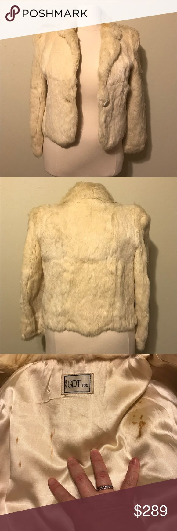 "❣️ cream colored vintage rabbit fur size large This vintage coat is in great condition. It's a size large cream rabbit fur coat with an acetate lining. The lining does have some discoloration due to age (pic 3 & 4) but there are no snags or holes. The front closes with a white single button. Approximate measurements are bust 40"", waist 39"", bottom hem 42"", total length 21.5"", sleeve 23.5""mane bicep 10"". DO NOT BUNDLE. GDT Too Jackets & Coats"