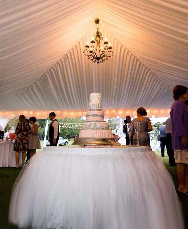 Sweets table, custom made tutu table skirt, tulle table skirt, wedding cake table by BaileyHadaParty on Etsy
