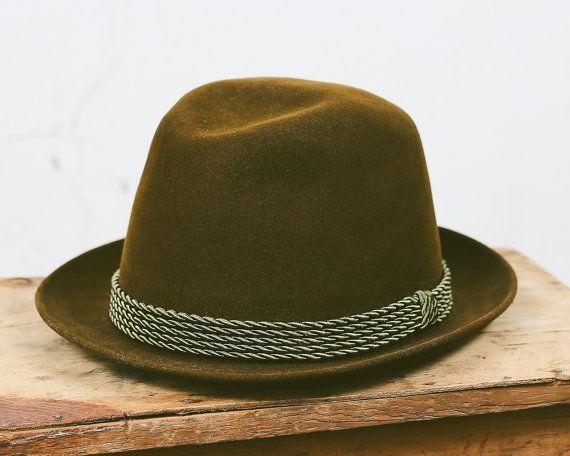 Vintage Men's Trilby Hat . Moss Green Wool Felt Fedora 1960s German Hute Antilope Rocket Homburg Man Boyfriend Father Gift Idea 57 cm