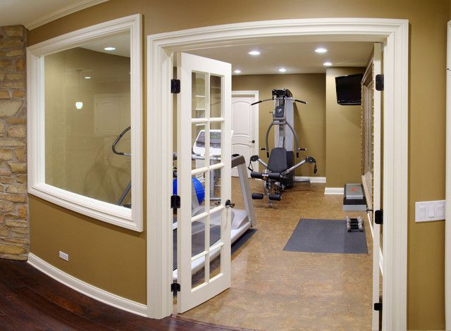 Small home gym mine would need a window to the basement fans tv