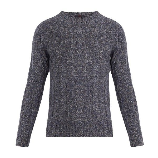 The Gigi Evan wool-blend cable-knit sweater (860 BRL) ❤ liked on Polyvore featuring men's fashion, men's clothing, men's sweaters, grey navy, mens gray sweater, mens cable knit sweater, mens slim fit sweaters, mens grey sweater and mens navy sweater