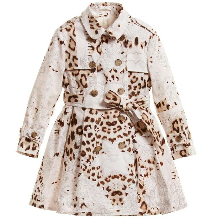 Roberto Cavalli Girls Trench Coat with Detachable Fur Lining at Childrensalon.com