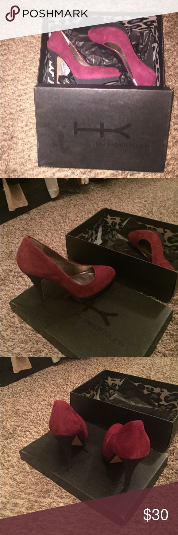 HK by Heidi Klum platform pump Only worn one time to a Christmas party. Heel height is 4.25 with .75 platform. Burgundy and black Heidi Klum Shoes Platforms