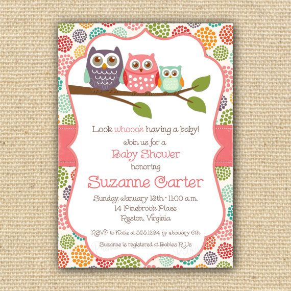Owl Baby Shower Invitations - DIY Printable Baby Girl Shower Invitations