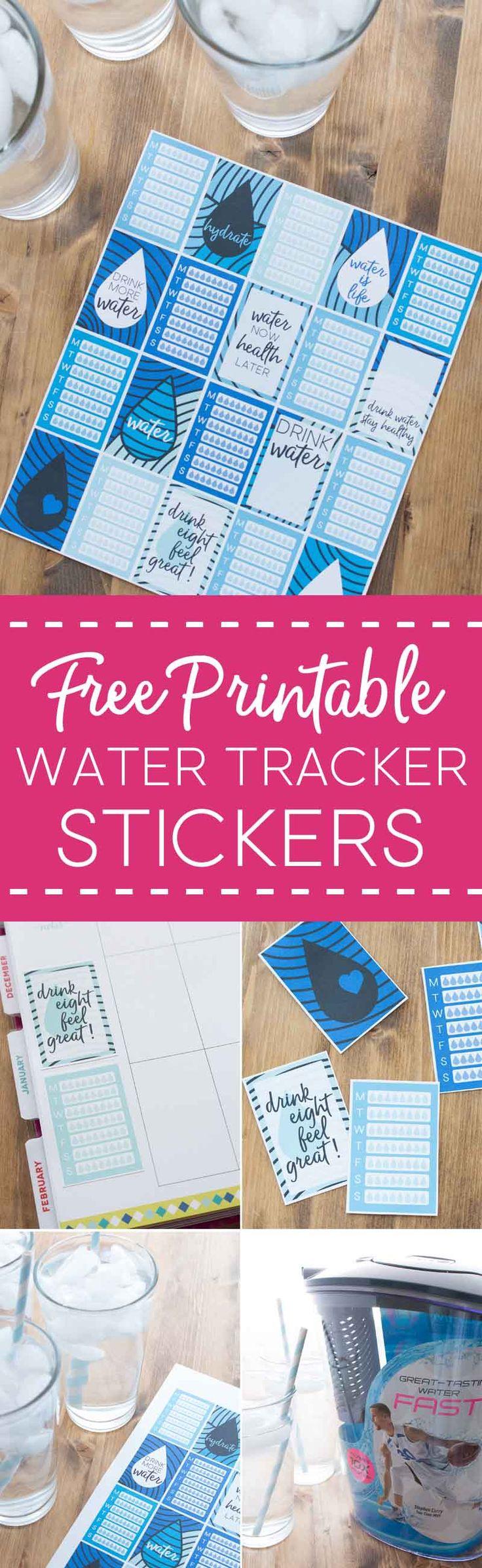 free printable water tracker stickers, happy planner stickers, water stickers, how to drink more water,  #ad via @brendidblog