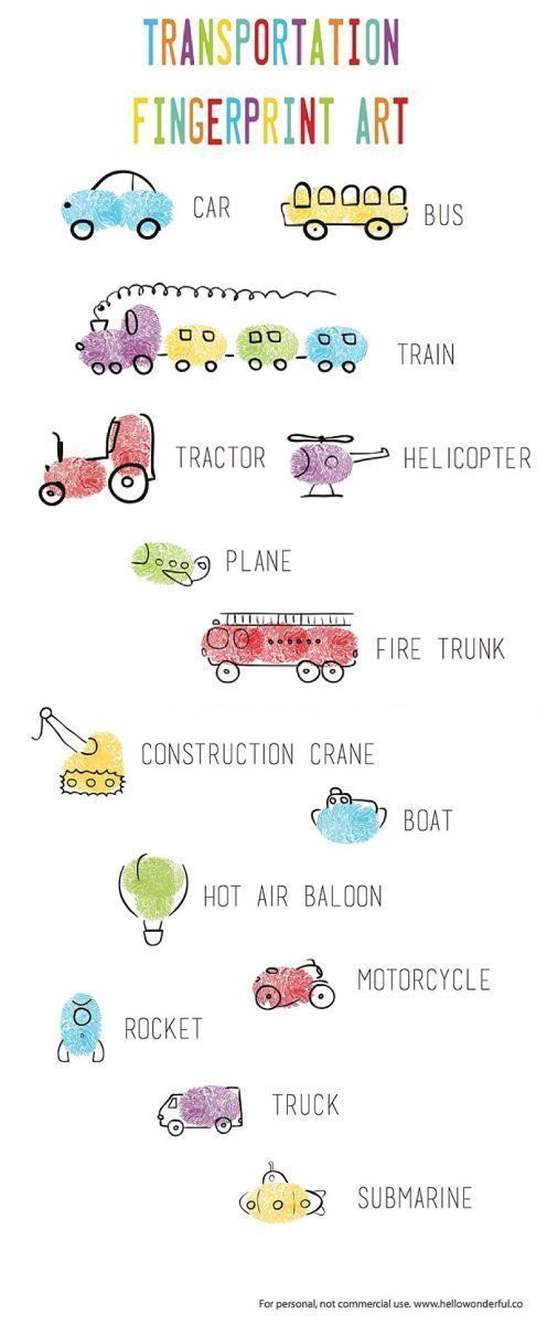 Transportation Vehicles Fingerprint Art! Two pages of free printables to use as guide for making cute fingerprint art with kids.