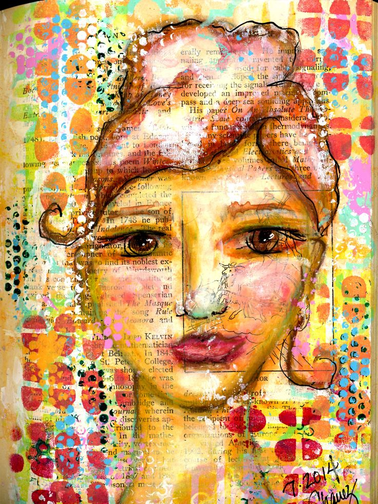 """BETH: Stencils and Faces - another page from my """"The Face Book"""" altered book for practicing faces.  BananaCurlGirl.com"""