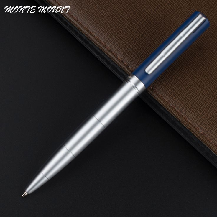 MONTE MOUNT High Quality Luxury Matte blue and silver Best Ballpoint Pen Business Gift Office Supplies