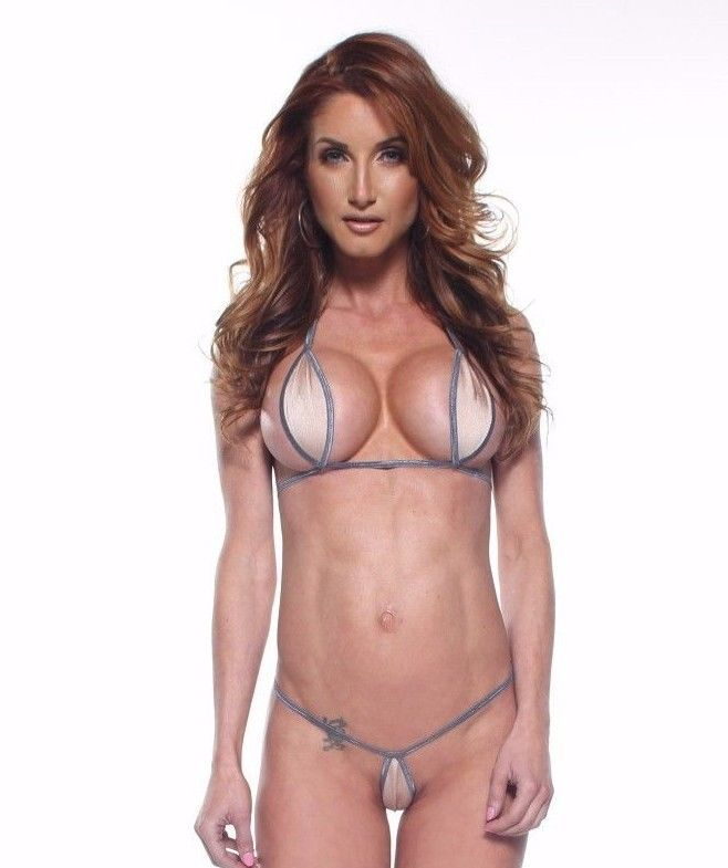 Solid Nude/Beige Teardrop Bikini 2Pc Mini Micro G-String Exotic Extreme W Silver