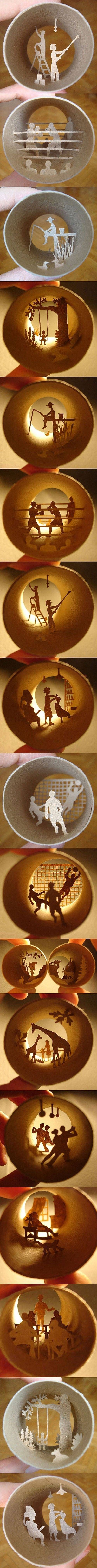 Cylindrical paper arts - I don't like coffee but I just may have to start drinking it to get the cups!