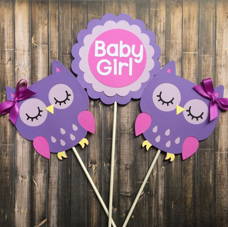 Owl centerpiece, Owl themed centerpiece, Baby Girl, Purple Owl decorations, Baby Shower decoration, set of 3 centerpiece by lilcraftychickadee on Etsy https://www.etsy.com/ca/listing/477488914/owl-centerpiece-owl-themed-centerpiece