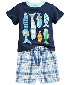 First Impressions Baby Boys' Fish T-Shirt & Plaid Shorts, Only at Macy's