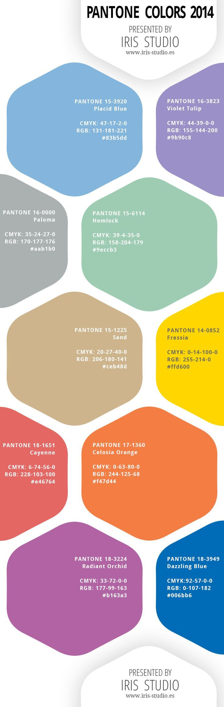 Spring colors of 2014 by Pantone with color codes CMYK, RGB, and HEX. Colores para la primavera 2014 Pantone. Con códigos de colores CMYK, RGB y Hex.