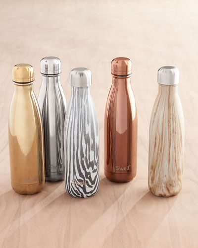 Bottle may be used as a water bottle or to hold other beverages. Made of 18/8 double-walled stainless steel. Nontoxic, non-leaching, and BPA free. Hand-painted, imitation wood finish. Mouth wide enoug