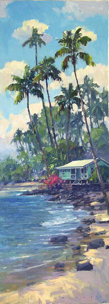 """Ronaldo Macedo """"Hawaiian Beach Shack"""" size 30X11.  Just sold, Prints may be in the works, to inquire email us at lgi@mau.net see art first at: www.facebook.com/lahainagalleriesFB"""