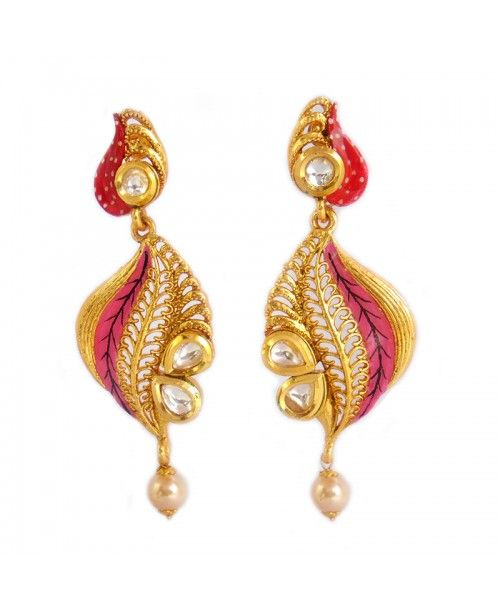 Women's Fashionable Kundan Polki Copper Earrings_Pink1