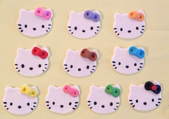 12 Edible Fondant Hello Kitty cupcake toppers door LuliSweetShop