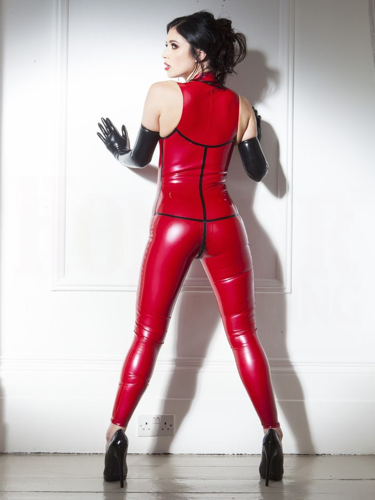 Rubber Sleeveless Catsuit Red Black Amp Red In Latex Rubber