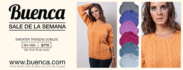 ¡¡¡Del 10 al 16 de junio SWEATER TRENZAS DOBLES for sale!!! Antes $1100, ahora $770 Compralo aquí: http://buenca.com/productos/80-sweater-trenzas-dobles.html