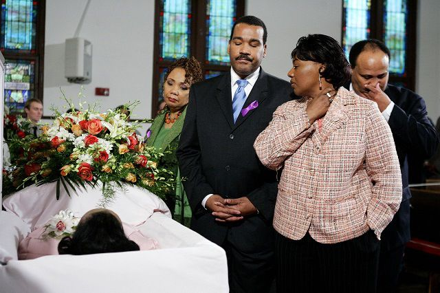 Funeral of Coretta Scott King,2006-In this Monday, Feb. 6, 2006 file photo, from left, Yolanda King, Dexter Scott King, the Rev. Bernice King and Martin Luther King III pay tribute to their mother, Coretta Scott King, as she lies in honor in the historic Ebenezer Church on Auburn Avenue in Atlanta